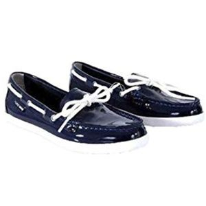 COLE HAAN Navy Patent Nantucket Camp Moccasins 9B